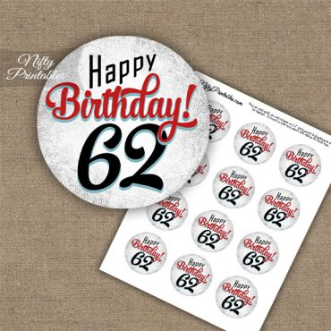 62nd Birthday Cupcake Toppers - Retro White Red