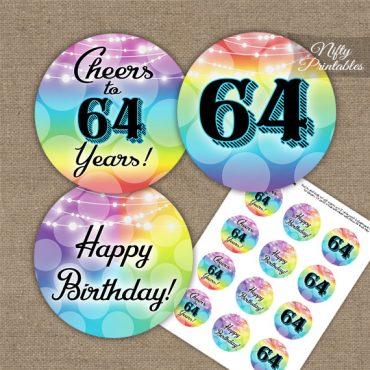 64th Birthday Cupcake Toppers - Rainbow LGBTQ