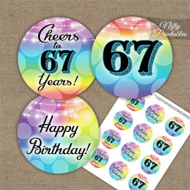 67th Birthday Cupcake Toppers - Rainbow LGBTQ