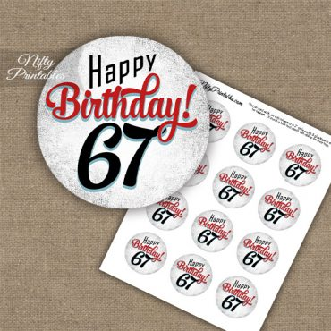 67th Birthday Cupcake Toppers - Retro White Red
