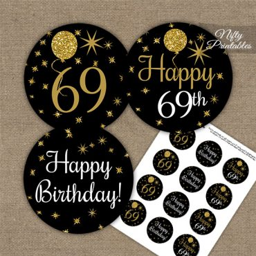 69th Birthday Cupcake Toppers - Balloons Black Gold