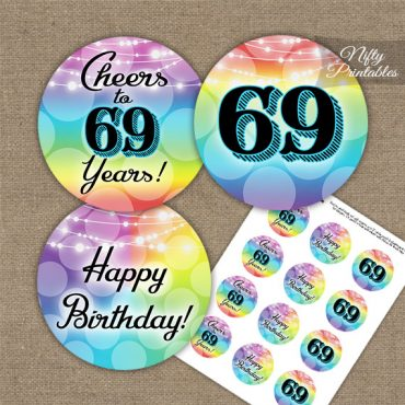 69th Birthday Cupcake Toppers - Rainbow LGBTQ