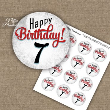 7th Birthday Cupcake Toppers - Retro White Red