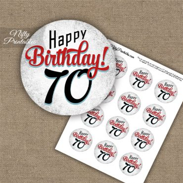 70th Birthday Cupcake Toppers - Retro White Red