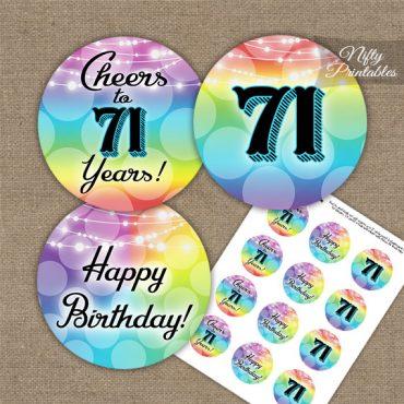 71st Birthday Cupcake Toppers - Rainbow LGBTQ