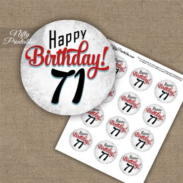 71st Birthday Cupcake Toppers - Retro White Red