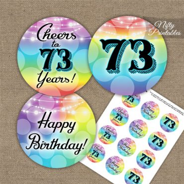 73rd Birthday Cupcake Toppers - Rainbow LGBTQ