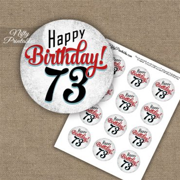 73rd Birthday Cupcake Toppers - Retro White Red