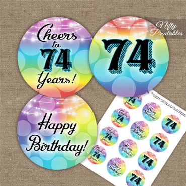 74th Birthday Cupcake Toppers - Rainbow LGBTQ
