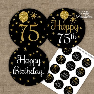 75th Birthday Cupcake Toppers - Balloons Black Gold