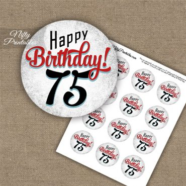 75th Birthday Cupcake Toppers - Retro White Red