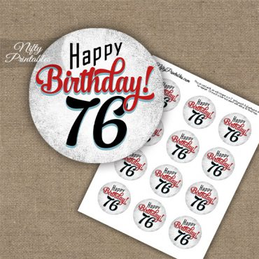 76th Birthday Cupcake Toppers - Retro White Red
