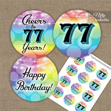 77th Birthday Cupcake Toppers - Rainbow LGBTQ