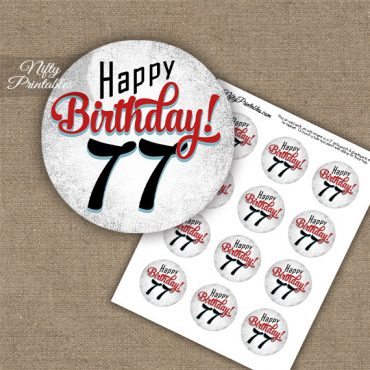 77th Birthday Cupcake Toppers - Retro White Red