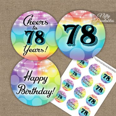 78th Birthday Cupcake Toppers - Rainbow LGBTQ