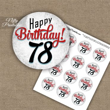78th Birthday Cupcake Toppers - Retro White Red