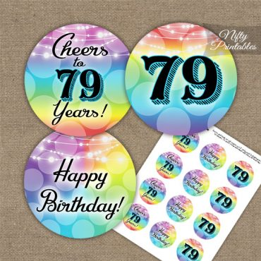 79th Birthday Cupcake Toppers - Rainbow LGBTQ