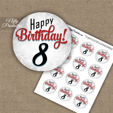 8th Birthday Cupcake Toppers - Retro White Red