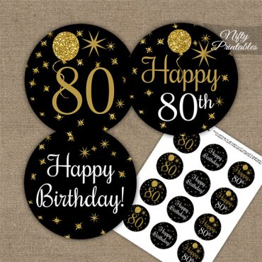 80th Birthday Cupcake Toppers - Balloons Black Gold