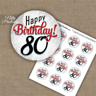 80th Birthday Cupcake Toppers - Retro White Red