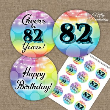 82nd Birthday Cupcake Toppers - Rainbow LGBTQ