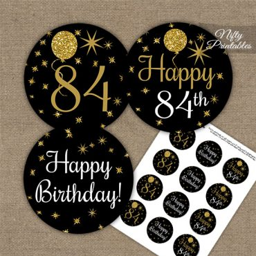 84th Birthday Cupcake Toppers - Balloons Black Gold