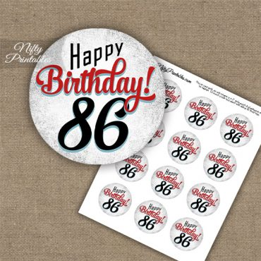 86th Birthday Cupcake Toppers - Retro White Red