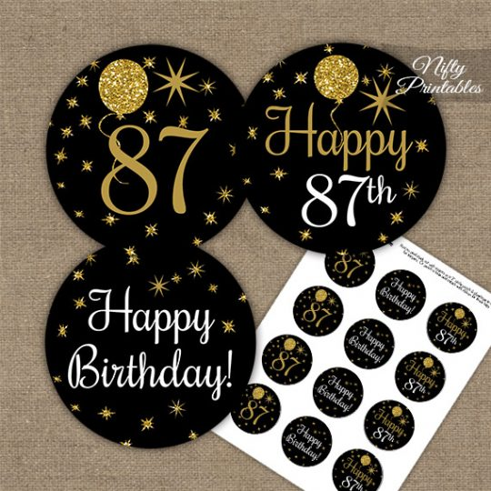 87th Birthday Cupcake Toppers - Balloons Black Gold