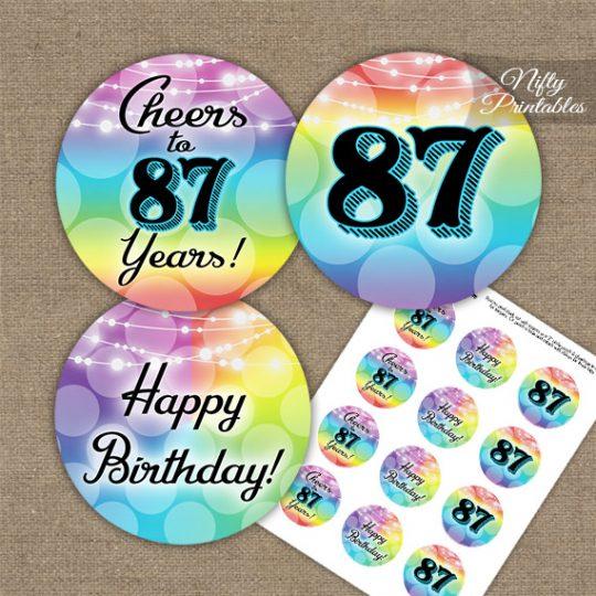 87th Birthday Cupcake Toppers - Rainbow LGBTQ