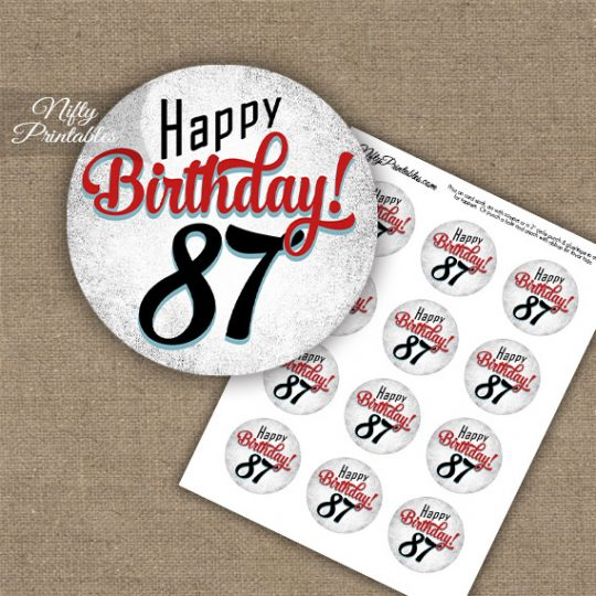 87th Birthday Cupcake Toppers - Retro White Red