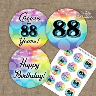 88th Birthday Cupcake Toppers - Rainbow LGBTQ