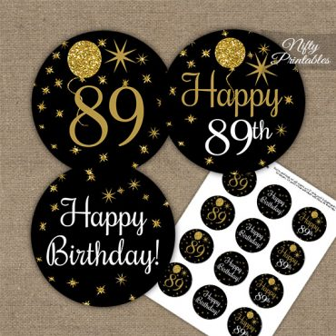 89th Birthday Cupcake Toppers - Balloons Black Gold