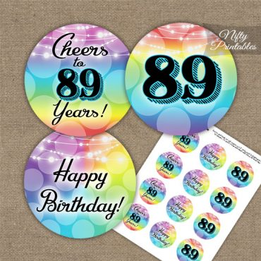 89th Birthday Cupcake Toppers - Rainbow LGBTQ