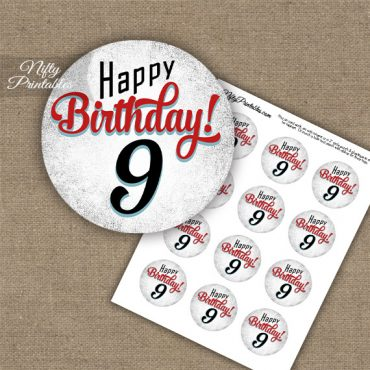 9th Birthday Cupcake Toppers - Retro White Red