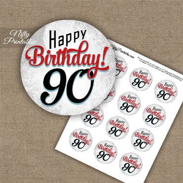 90th Birthday Cupcake Toppers - Retro White Red