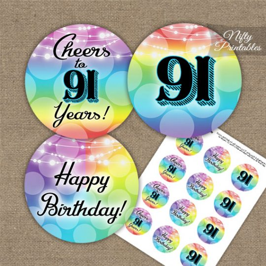 91st Birthday Cupcake Toppers - Rainbow LGBTQ