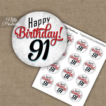 91st Birthday Cupcake Toppers - Retro White Red