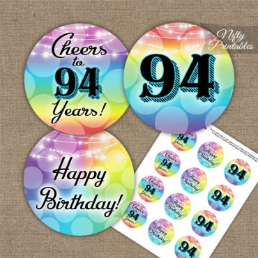 94th Birthday Cupcake Toppers - Rainbow LGBTQ