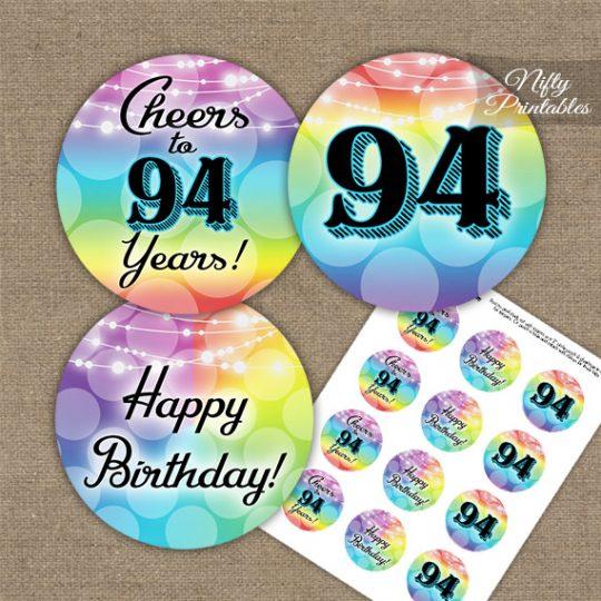 94th Birthday Cupcake Toppers - Rainbow LGBTQ