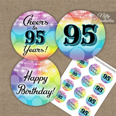 95th Birthday Cupcake Toppers - Rainbow LGBTQ