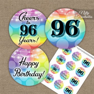 96th Birthday Cupcake Toppers - Rainbow LGBTQ