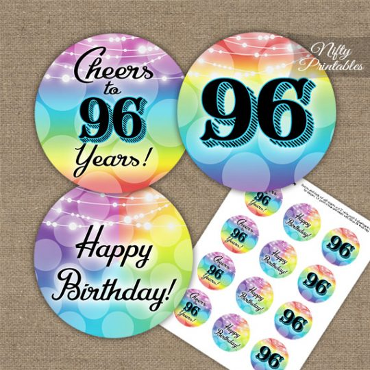 96th Birthday Cupcake Toppers - Rainbow LGBTQ