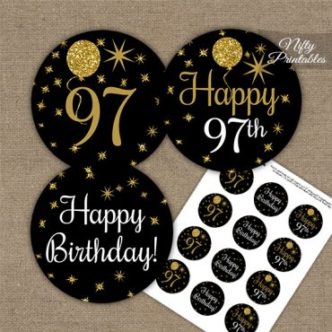 97th Birthday Cupcake Toppers - Balloons Black Gold