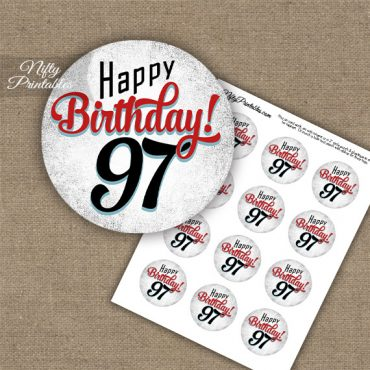 97th Birthday Cupcake Toppers - Retro White Red