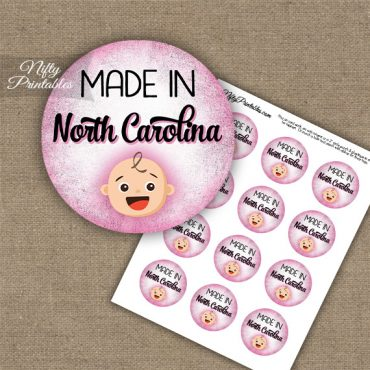 North Carolina White Baby - Pink Cupcake Toppers