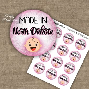 North Dakota White Baby - Pink Cupcake Toppers