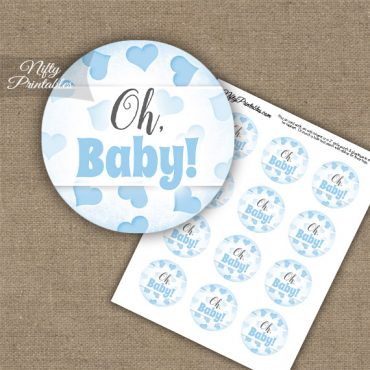 Oh Baby Hearts - Baby Shower Toppers - Blue