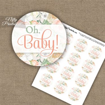 Oh Baby - Baby Shower Toppers - Peach Floral