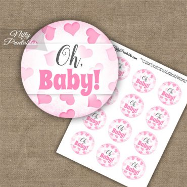 Oh Baby Hearts - Baby Shower Toppers - Pink