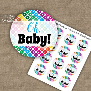 Oh Baby - Baby Shower Toppers - Rainbow Shapes